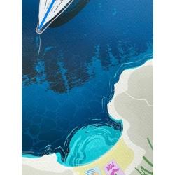 Mouillage à Porquerolles : le voilier / détail