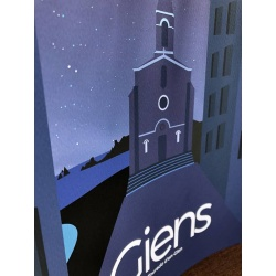 affiche l'église et le village de giens à Hyères