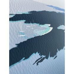 Porquerolles vue d'en haut / détail sur l'impression pigmentaire et le papier fine art. les couleurs varient selon l'exposition
